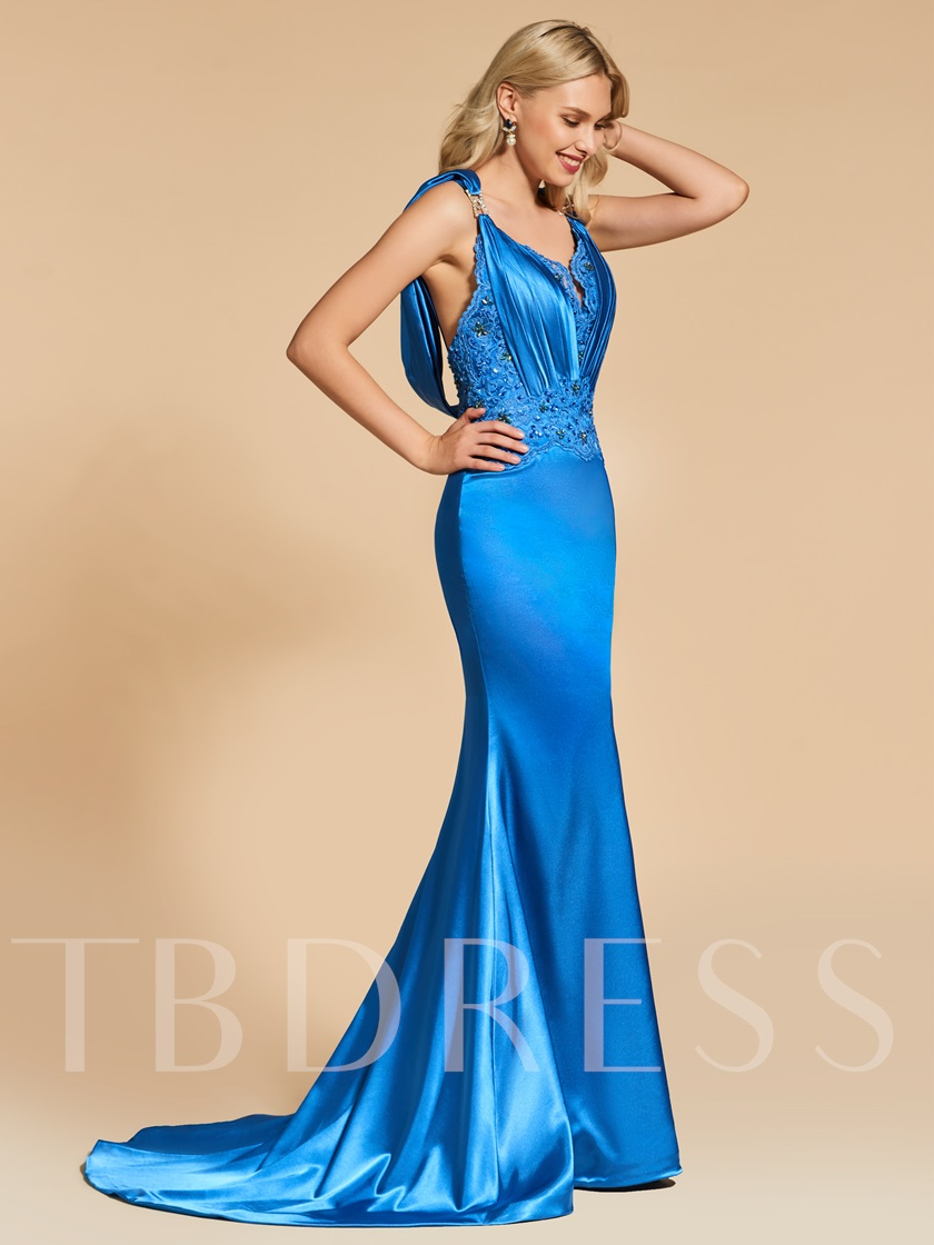 Beading Lace Sheath V-Neck Appliques Beaded Evening Dress