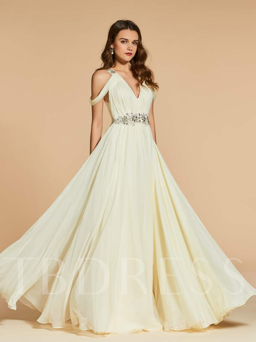 Beading Pleats Open Shoulder Prom Dress