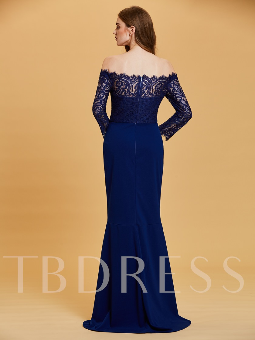 Lace Off-the-Shoulder Long Sleeves Mermaid Evening Dress