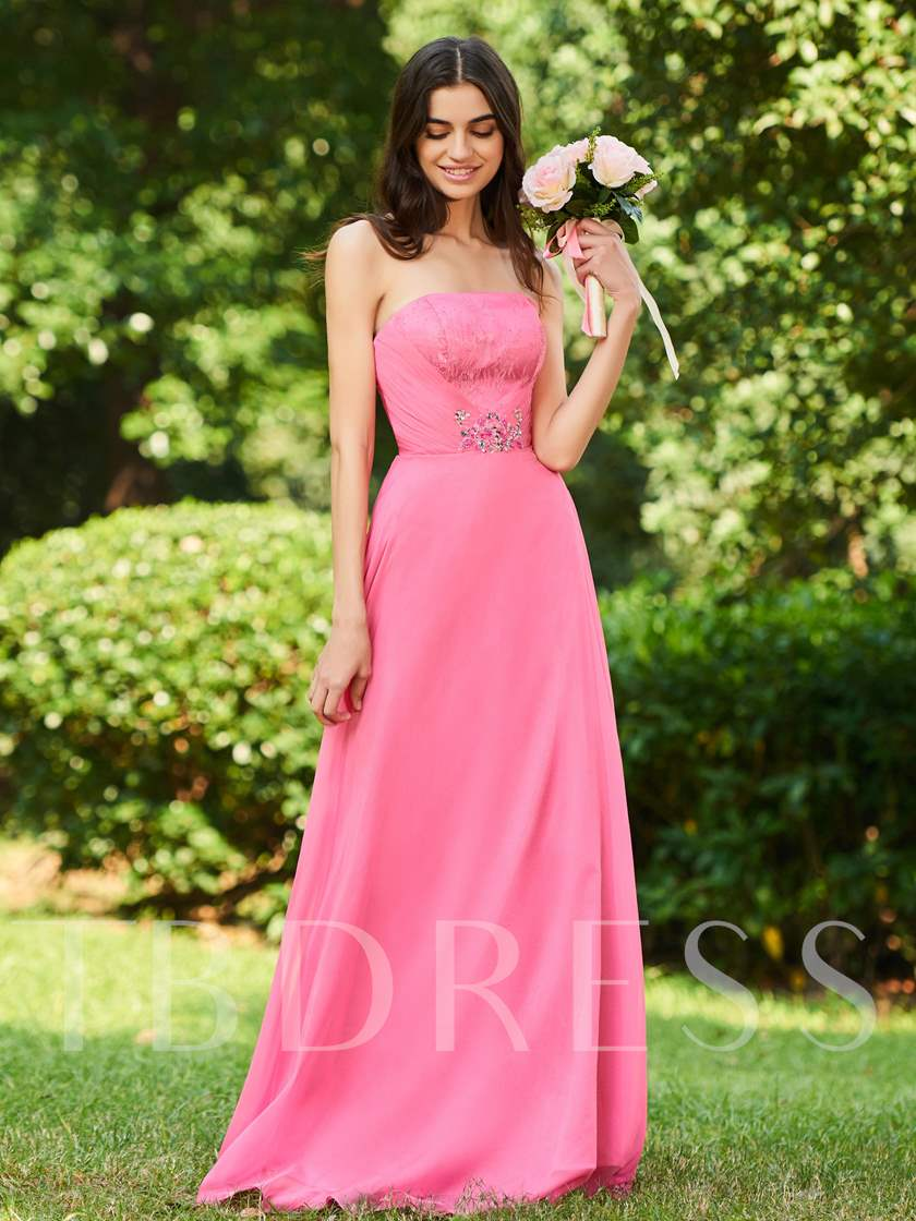 Lace Top Beaded Strapless Bridesmaid Dress