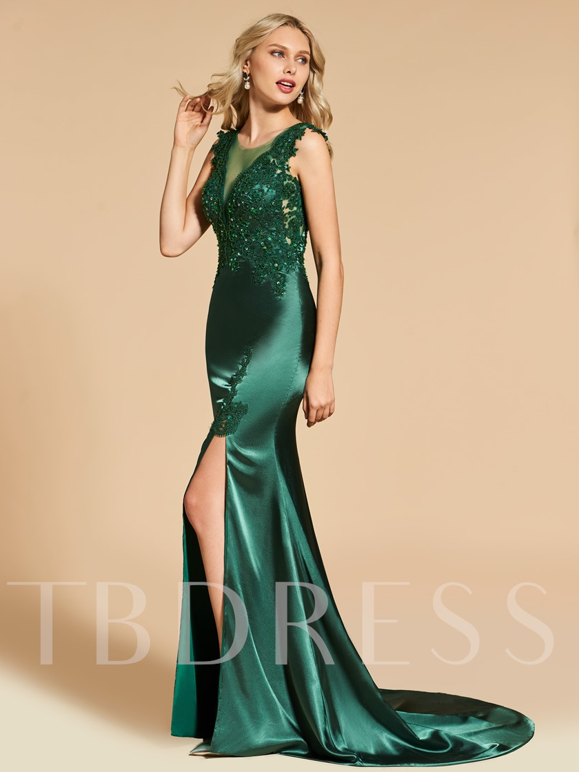 Trumpet Scoop Lace Split-Front Appliques Evening Dress