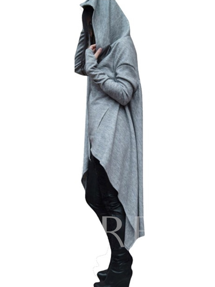 Pocket Hooded Pullover Asymmetric Women's Long Sleeve Dress