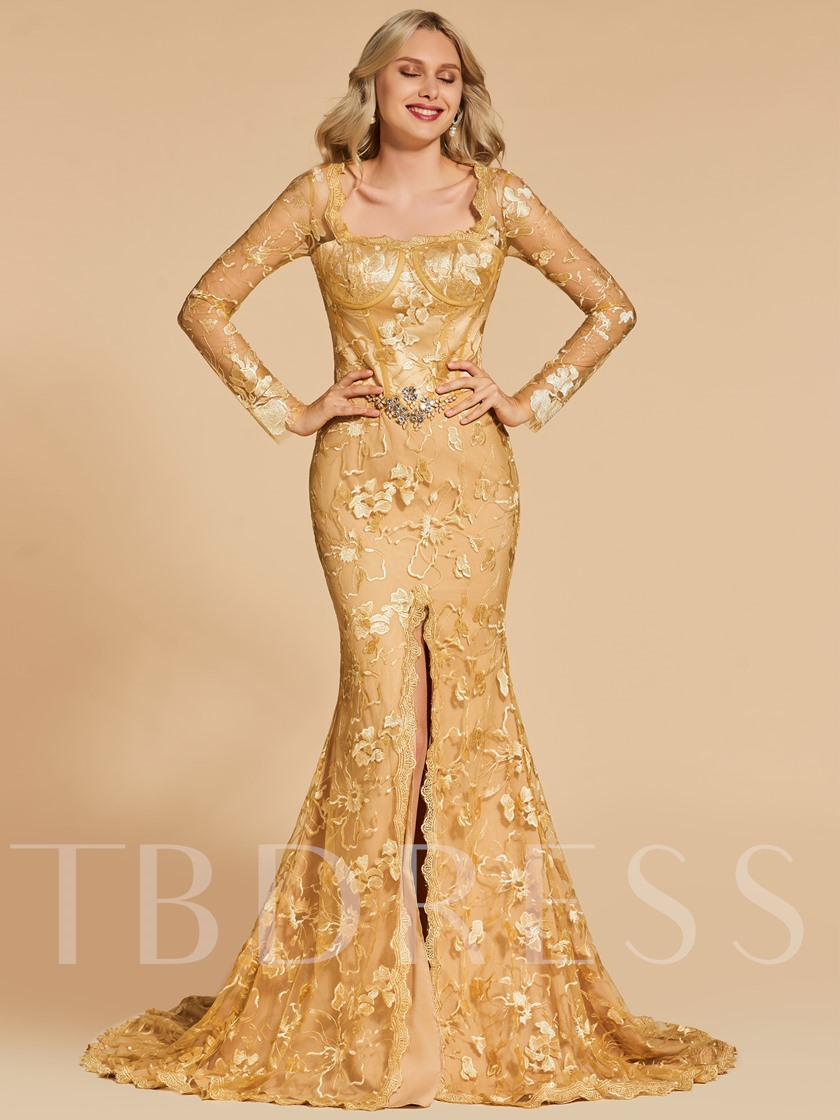 Trumpet Square Long Sleeves Appliques Evening Dress