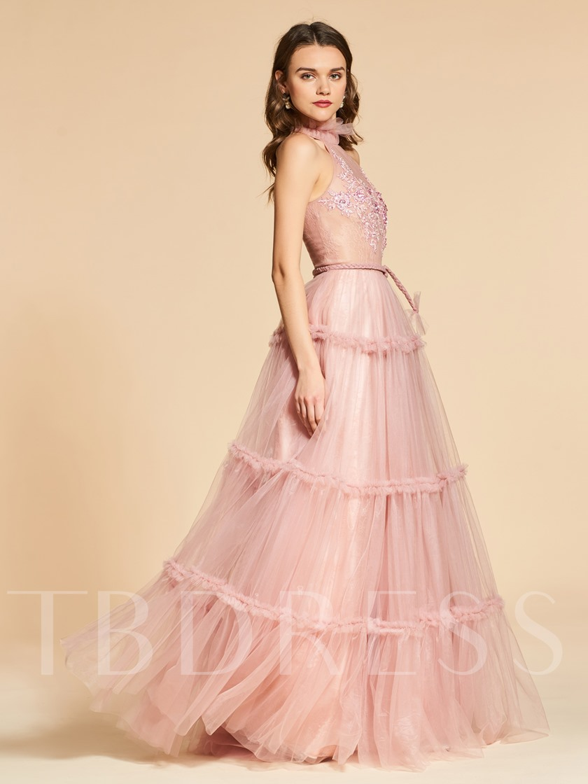 Jewel A-Line Lace Sashes Evening Dress