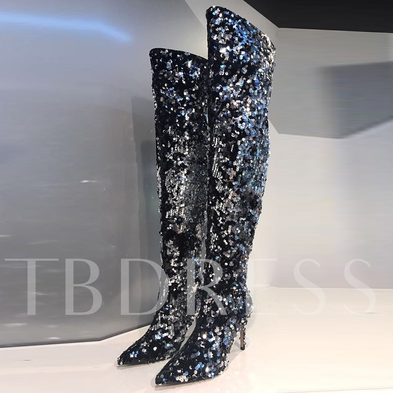 Buy Pointed Toe High Heel Sequin Slip On Women's Thigh High Glitter Boots, Fall,Winter, 13119916 for $97.99 in TBDress store