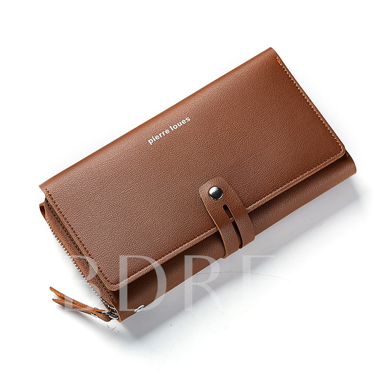 Huge Space Solid Color PU Men's Wallet