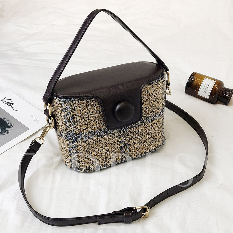 Casual Bucket Shape Knitted PU Cross Body Bag