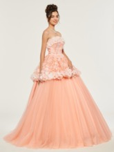 Lace Flowers Strapless Quinceanera Dress