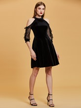 Open Shoulder Lace Velvet Black Cocktail Dress