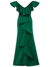 Plain Falbala Cap Sleeve Women's Maxi Dress