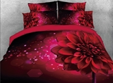 Sparkle Red Daisy Printed 4-Piece 3D Bedding Sets/Duvet Covers