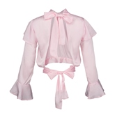 Stand Collar Flare Sleeve Backless Women's Blouse