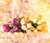 Pink and Yellow Tulip Printed 4-Piece 3D Yellow Bedding Sets/Duvet Covers