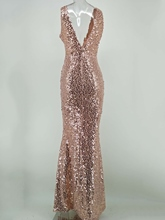 Golden Sequins Backless Women's Maxi Dress