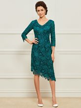 Asymmetry Beaded Column Lace Mother of the Bride Dress