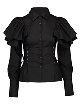 Slim Lapel Falbala Single-Breasted Women's Shirt