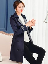 Lapel Patchwork Double-Breasted Women's Trench Coat