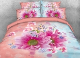 Fancy Pink and Blue Dasiy Printed 4-Piece 3D Bedding Sets/Duvet Covers