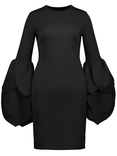Black Bell Sleeve Women's Bodycon Dress