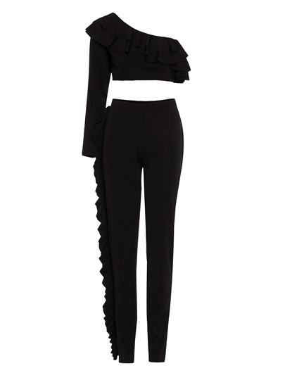 Falbala Patchwork Plain Women's Pants Suit