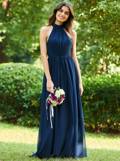 Bowknot Halter Backless Bridesmaid Dress