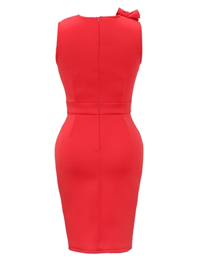 Red Falbala Women's Bodycon Dress