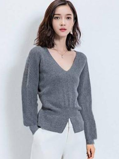 Plain V-neck with Tight Waist Pullover Women's Sweater