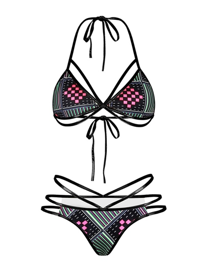 Geometric Print Halter Hollow Dashiki Bikini Set
