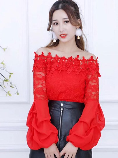 Sexy Puff Sleeve Slash Neck Women's Blouse