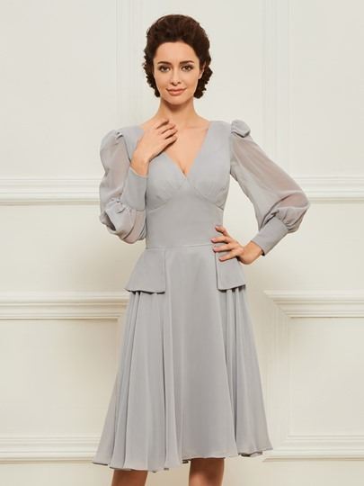 Long Puff-Sleeved A-Line Short Mother of the Bride Dress