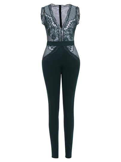 Lace Patchwork Full Length Sleeveless Women's Jumpsuit