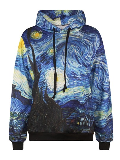 Gothic Color Block Galaxy Hooded Loose Women's Hoodie