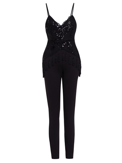 Slim Sequins Tassel Backless Women's Jumpsuit