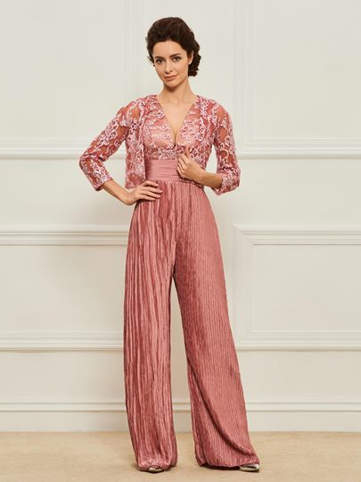 Appliques Mother of the Bride Jumpsuit with Jacket