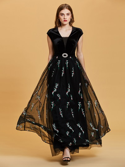 Scoop Neck Cap Sleeves Embroidery A Line Evening Dress