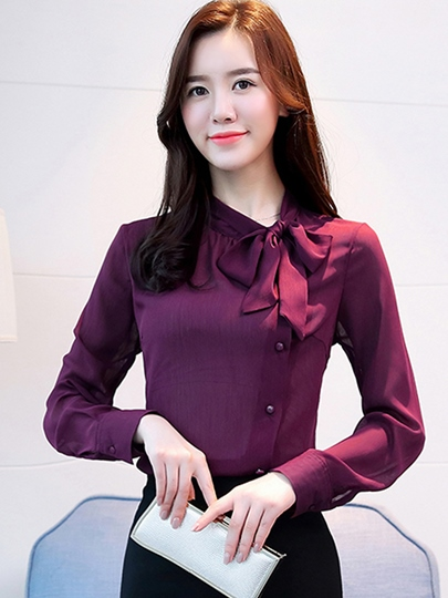 Bowknot Stand Collar Single-Breasted Women's Blouse