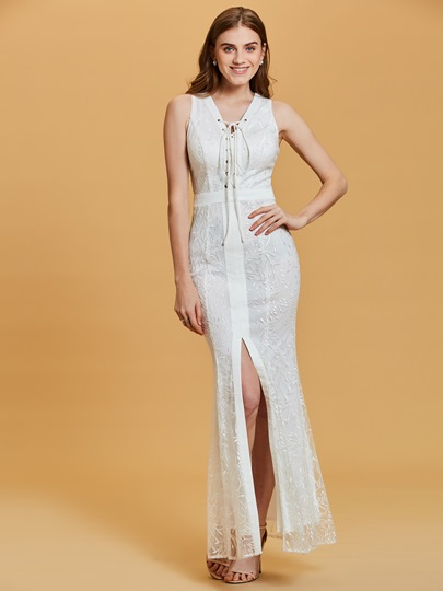 V Neck Sleeveless Split-Front Appliques Sheath Evening Dress