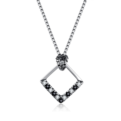 Square Hollow Out Sterling Silver Necklace