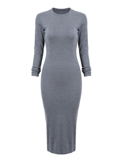 Gray Back Split Womens Bodycon Dress