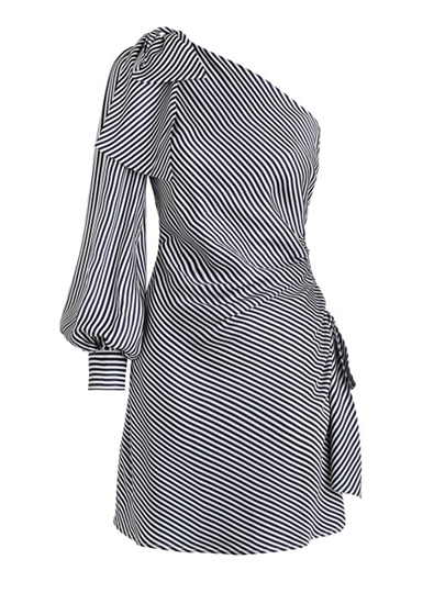 Striped One Shoulder Women's Day Dress