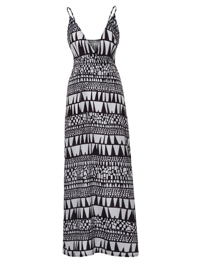 Color Block Geometric Pattern Vacation Maxi Dress