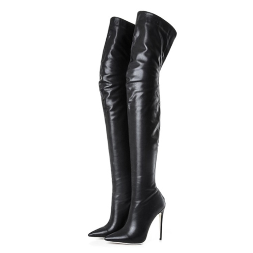 e4ea54fc6b Pointed Toe Back Zipper High Heel Black Sexy Thigh High Boots for Women