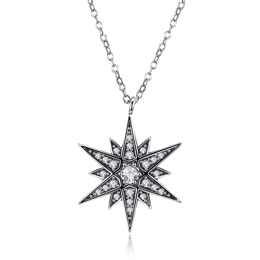 Cubic Zirconia Fine Silver Hexagram Necklace