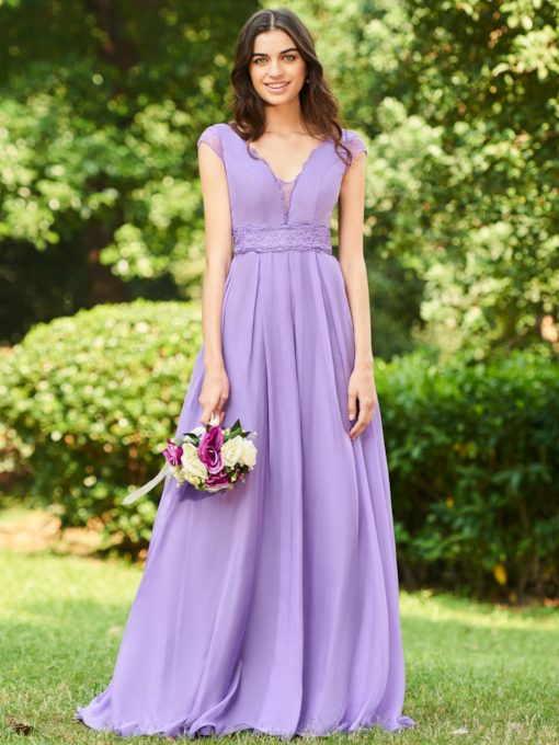 Lace Cap Sleeves Long Bridesmaid Dress