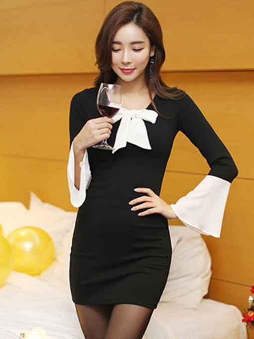 Bell Sleeve Black Women's Bodycon Dress