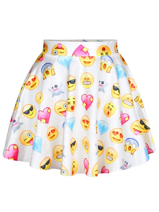Slim Pleated A-Line Emoji Women's Mini Skirt