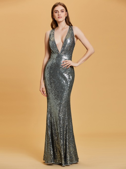V Neck Criss-Cross Straps Sequins Sheath Evening Dress