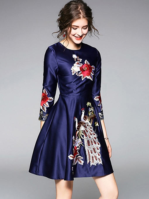 Embroidery Blue Women's A-Line Dress