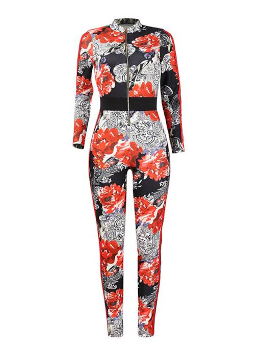 Sexy Long Sleeve Floral Print Women's Jumpsuit