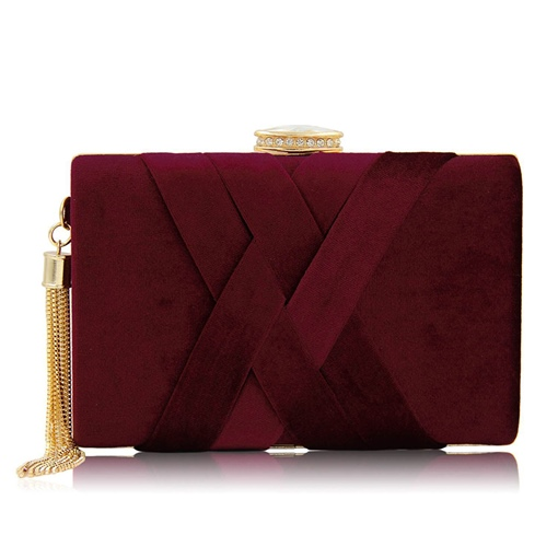 Chic Velour Knitted Design Evening Clutch